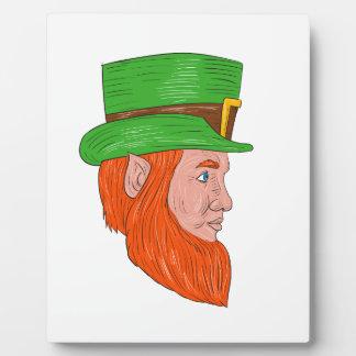 Leprechaun Head Side Drawing Plaque