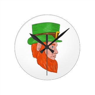 Leprechaun Head Side Drawing Round Clock