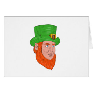 Leprechaun Head Three Quarter View Drawing Card