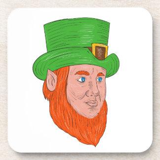 Leprechaun Head Three Quarter View Drawing Coaster