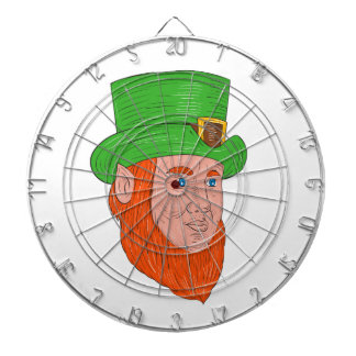 Leprechaun Head Three Quarter View Drawing Dartboard