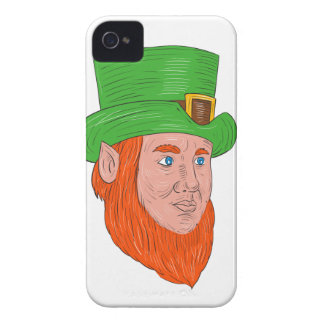 Leprechaun Head Three Quarter View Drawing iPhone 4 Case-Mate Case