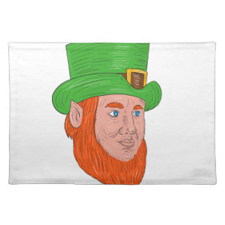 Leprechaun Head Three Quarter View Drawing Placemat