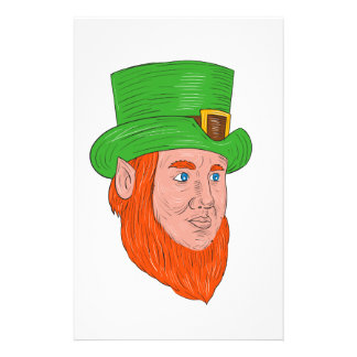 Leprechaun Head Three Quarter View Drawing Stationery