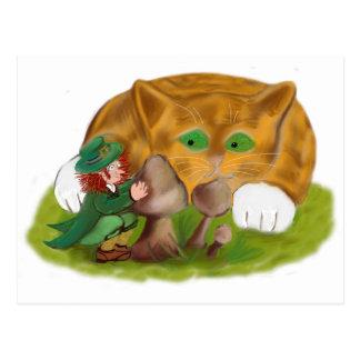 Leprechaun Hides from Orange Tiger Kitten Postcard