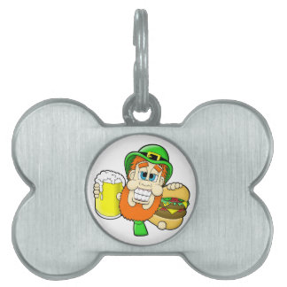Leprechaun Holding Burger & Beer in Shamrock Shape Pet Tag