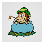 Leprechaun in Pot of Gold Poster