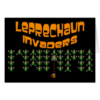 Leprechaun Invaders.  Happy St. Patrick's Day Greeting Cards
