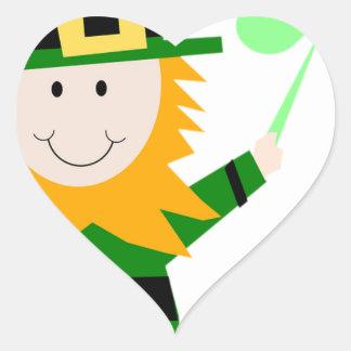 Leprechaun Lucky Clover Man Heart Sticker
