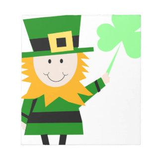 Leprechaun Lucky Clover Man Notepad
