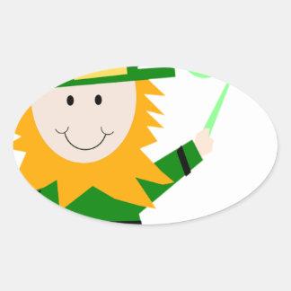 Leprechaun Lucky Clover Man Oval Sticker