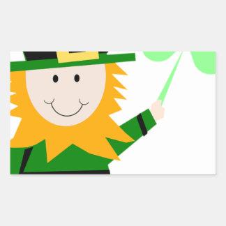 Leprechaun Lucky Clover Man Rectangular Sticker