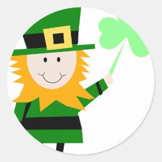 Leprechaun Lucky Clover Man Round Sticker