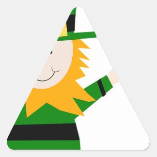 Leprechaun Lucky Clover Man Triangle Sticker