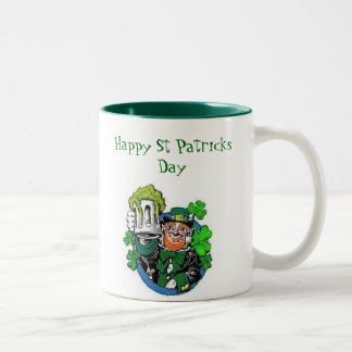 leprechaun party, Happy St Patricks Day Two-Tone Mug