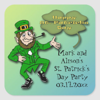 Leprechaun Shamrock St. Paddy's Day Party Favor Square Sticker