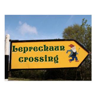 leprechaun sign post post card