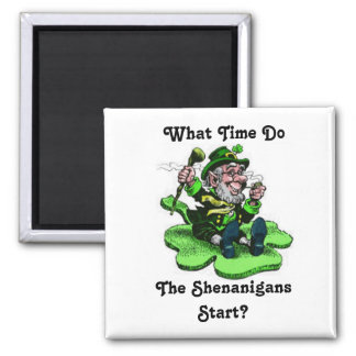 Leprechaun Sitting On A Shamrock Magnet