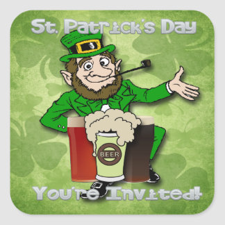 Leprechaun St Paddy s Day Invitation envelope sea Square Stickers