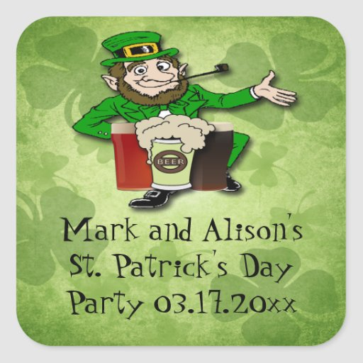 Leprechaun St. Paddy's Day Party Favor stickers