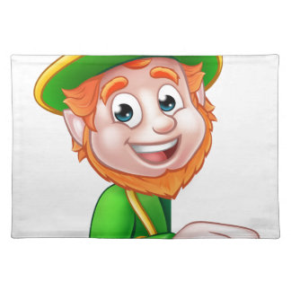 Leprechaun St Patricks Day Cartoon Mascot Pointing Placemat