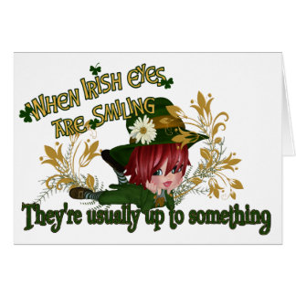 Leprechaun Up to Something - Customizable Card