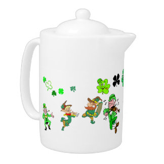 Leprechauns and Shamrocks Teapot