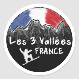 Les 3 Vallees France snowboarder sticker