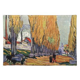 Les Alyscamps by Van Gogh. Autumn landscape Placemats
