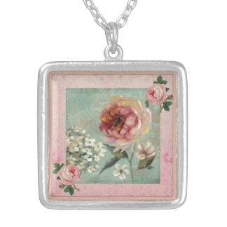 Les Belles Fleurs Pink Vintage Style Silver Plated Necklace