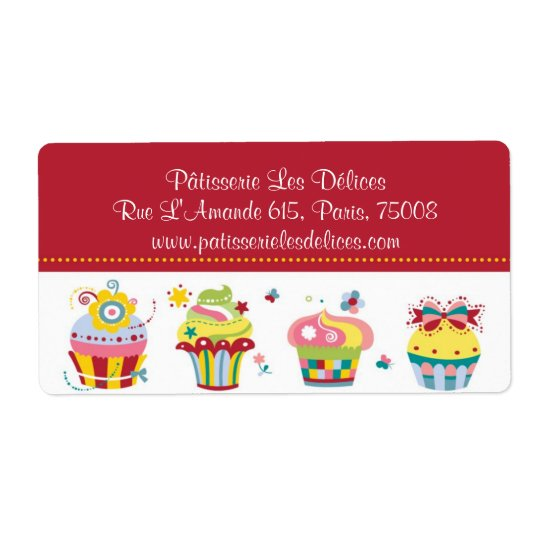 Les Cupcakes - Cute Bakery Customisable Labels