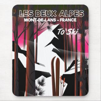 Les Deux Alpes, France ski travel poster Mouse Pad