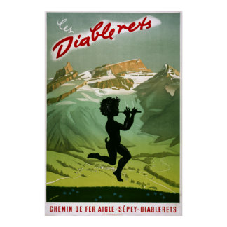 Les Diablerets,Switzerland, Vintage Travel Poster