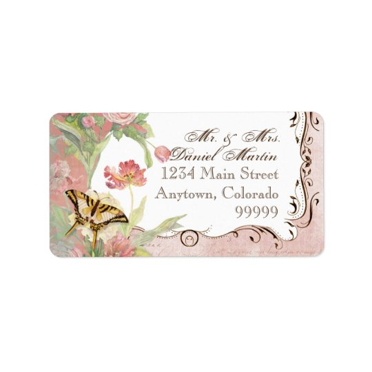 Les Fleurs Peony Rose Tulip Floral Flowers Wedding Address Label