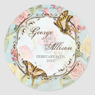 Les Fleurs Peony Rose Tulip Floral Flowers Wedding Classic Round Sticker