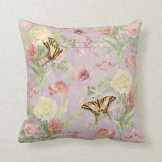 Les Fleurs Peony Rose Tulip Iris Floral Flowers Throw Pillow