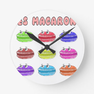Les Macarons Cute Cartoon Round Clock