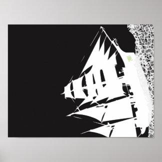 Les Mis Ship Silhouette Poster