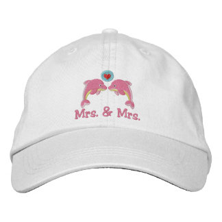 Lesbian Dolphins And Love Heart Bubble Wedding Embroidered Hat