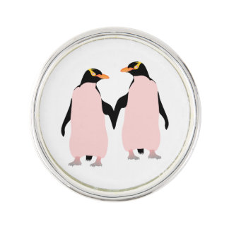 Lesbian Gay Pride Penguins Holding Hands Lapel Pin