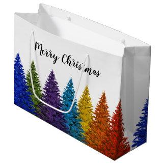 Lesbian Gay Pride Rainbow Flag Christmas Tree Large Gift Bag
