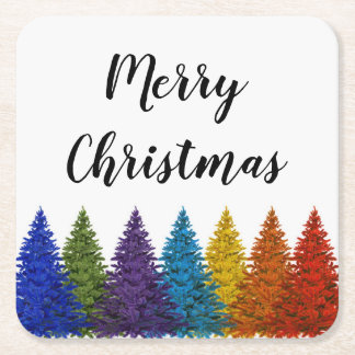 Lesbian Gay Pride Rainbow Flag Christmas Tree Square Paper Coaster
