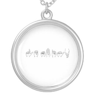 Lesbian in Sign Language Round Pendant Necklace