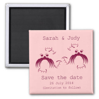 Lesbian, Loving seals Save the date Square Magnet