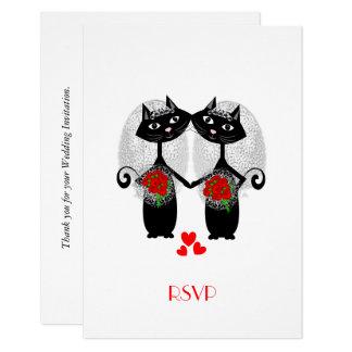 Lesbian Marriage Cool Cat Cute Brides Wedding 9 Cm X 13 Cm Invitation Card