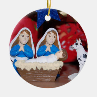 Lesbian Nativity: Love Makes a Holy Family Round Ceramic Decoration