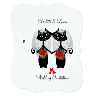 Lesbian Same-Sex Marriage Cool Cats Wedding 13 Cm X 18 Cm Invitation Card