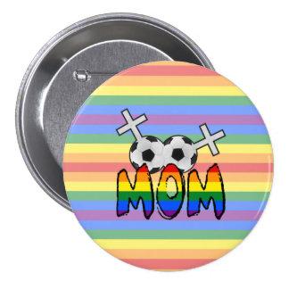 Lesbian Soccer Mom (w/ rainbow) Pinback Buttons