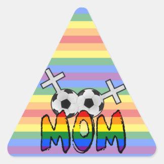 Lesbian Soccer Mom (w/ rainbow) Triangle Sticker