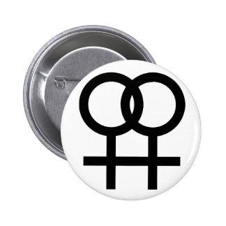 Lesbian symbol button - white 6 cm round badge